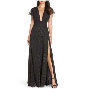 NWT Jill Stuart Plunging Neckline Dot Dress Gown 4